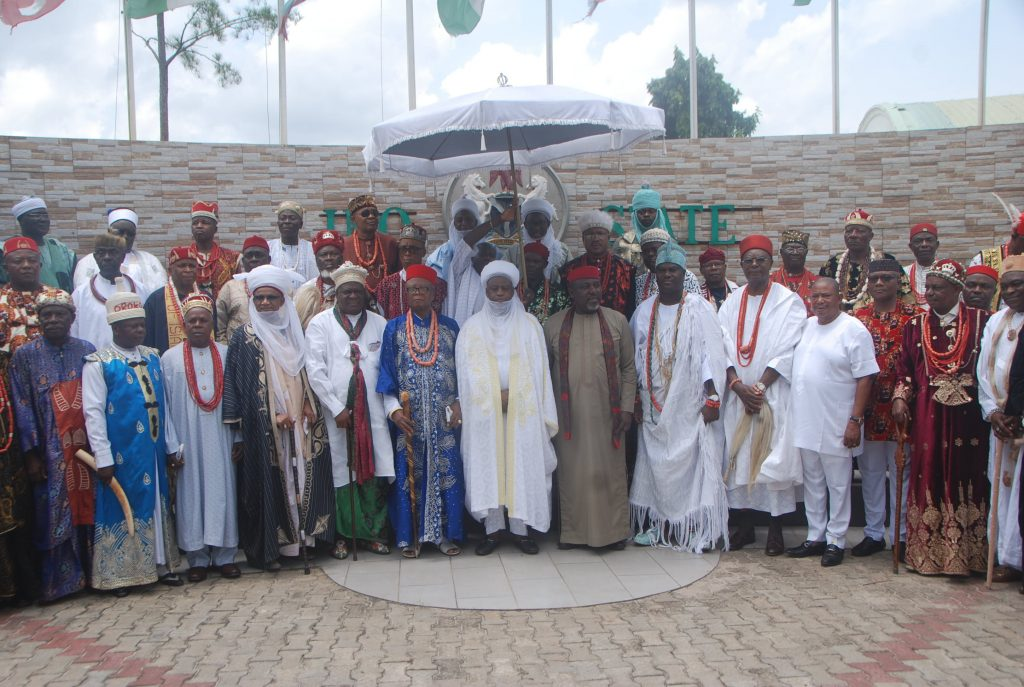 SULTAN OF SOKOTO, ONI OF IFE, OBI OF ONITSHA, OBONG OF CALABAR, ETSU OF NUPE, OTHERS, IN IMO FOR POST-ELECTION PEACE SUMMIT